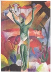 Heinrich Campendonk, Grüner Kruzifixus in bayerischer Landschaft, 1913