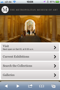 Startscreen der mobilen Website des Met