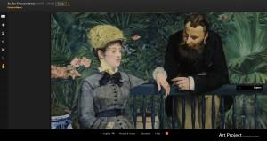 """Edouard Manet (1832 – 1883), """"Im Wintergarten"""" (""""Dans la serre""""), Gemälde / Öl auf Leinwand (1879) © Staatliche Museen zu Berlin, Nationalgalerie"""