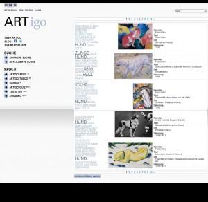 ARTigo - Schlagwortsuche und Ergebnislisting in der Datenbank