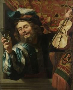 Rijksmuseum: Een vrolijke vioolspeler, Gerard van Honthorst, 1623