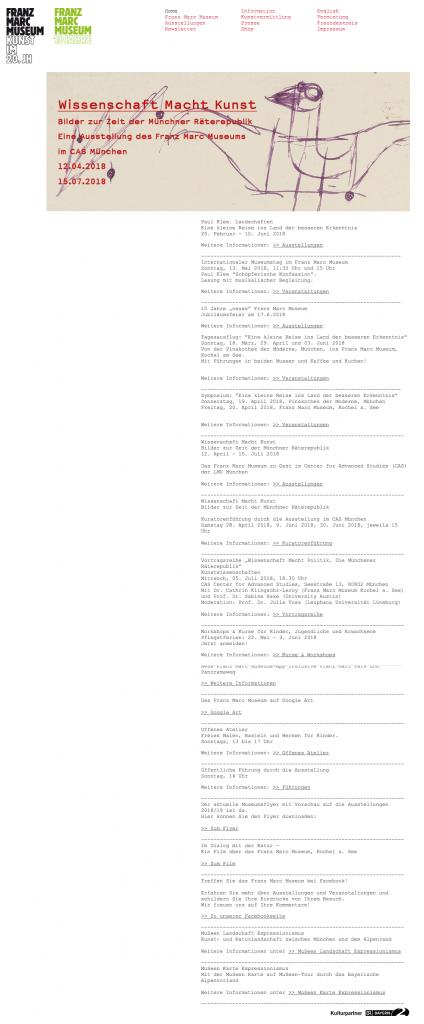 Museumswebsites versus Stadtportale: Die Website des Franz Marc Museum in Kochel am See
