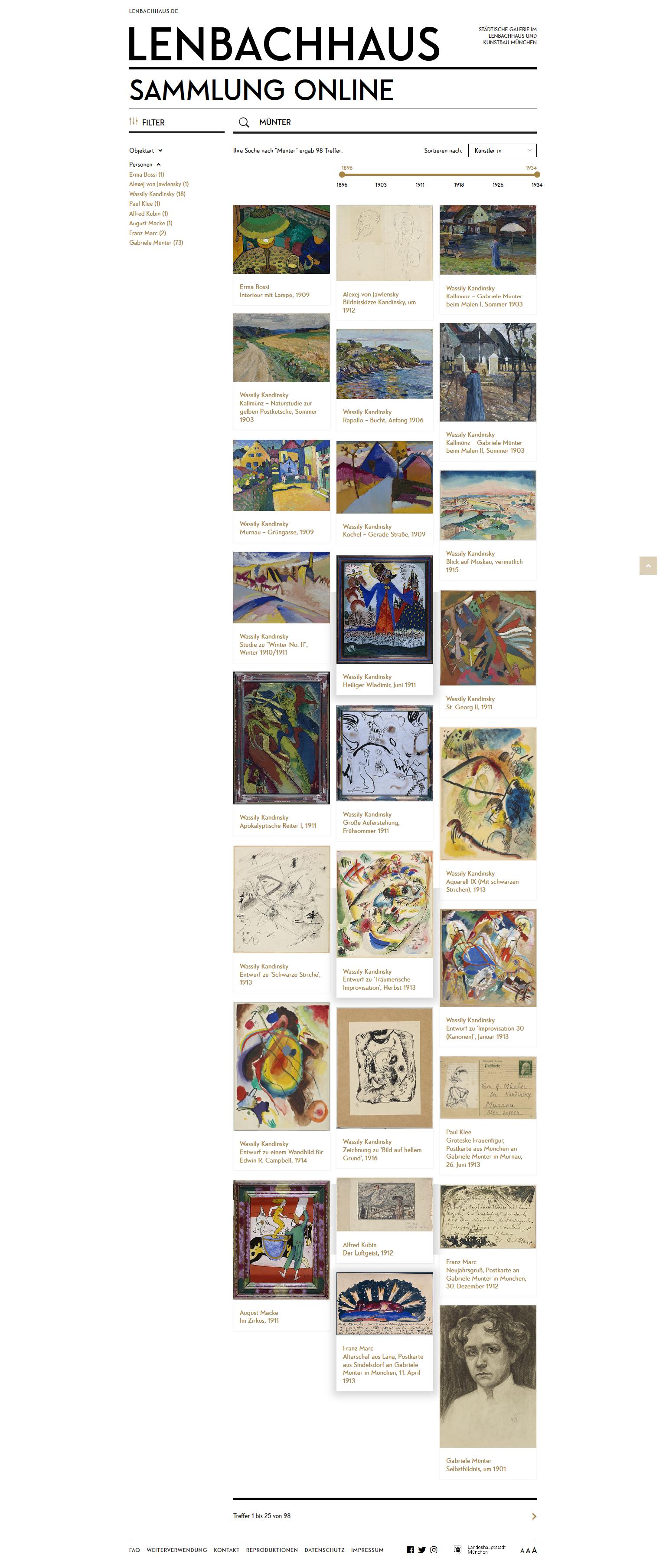 Trefferanzeige bei der Suche in der Sammlung Online des Lenbachhaus